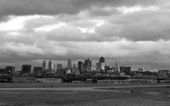 Ominous Clouds Over Kanasas City Missouri at Sunset Stock Photos