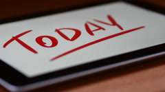 Text Appears On The Tablet Itself. Today Stock Footage