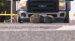 Construction worker killed on road work site Stock Footage