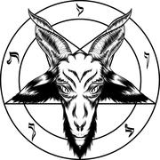 Pentagram with Baphomet. Binary satanic symbol. For tattoos, biker black meta Piirros