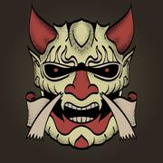 The demon's head. Connected to the Western and Asian style of drawing. You ca Stock Illustration
