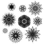Ray edge mandala. Includes cornflowers, lotus, begonia. Maybe used as seamles Stock Illustration