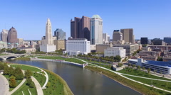 Flying Away From Downtown Columbus, Ohio Stock Footage
