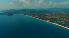 Panorama. Flying over Bang Tao beach. Phuket. Thailand. Aerial view. Stock Footage