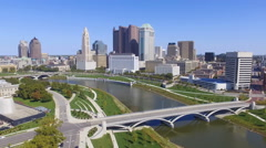 View of Downtown Columbus, Ohio Stock Footage