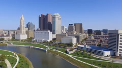 Flying Along Downtown Columbus, Ohio Stock Footage