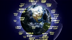 WORLD CUP Text Animation and Earth, Loop, 4k Stock Footage