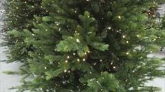 Artificial Christmas Tree With Garlands Stock Footage