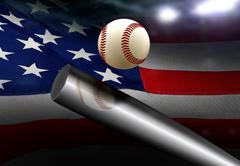 Baseball bat hitting ball with American flag background Stock Illustration
