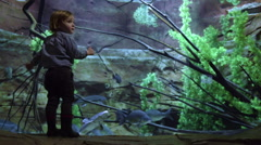 Boy Stands Close To Fish Tank In Aquarium, Makes Funny Faces, Looks At Fish Stock Footage