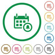 Calendar alarm outlined flat icons Stock Illustration