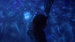 Kids Walk Around Aquarium Exhibit, Cool Lights Create Water Pattern On Floor Stock Footage