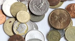 Different coins Stock Footage