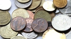 Many different coins Stock Footage