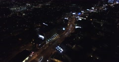 Aerial over Sunset Boulevard in Hollywood, California Stock Footage