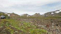 Panorama at foot of volcano Avachinskaya group Stock Footage