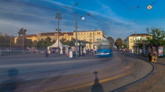 New modern trams of Croatian capital Zagreb timelapse near railway station Stock Footage