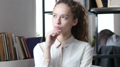 Thinking, Pensive Business Woman, Indoor Office Stock Footage
