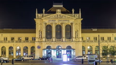 People on the Tomislav Square in front of Main Railway Station night timelapse Stock Footage