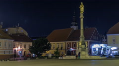Holy Mary monument in front of the Cathedral night timelapse in Zagreb, Croatia Stock Footage