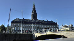 Christiansborg Palace Viewed from Canal Side Stock Footage