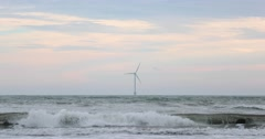 Wind turbine in the sea, Byobugaura cliff, Chiba Prefecture, Japan Stock Footage