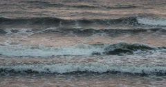 Sea waves before sunset on a rainy day at Byobugaura cliff, Chiba Prefecture, Stock Footage