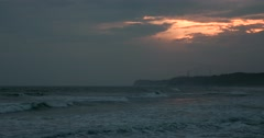 Sea at sunset on a rainy day at Byobugaura cliff, Chiba Prefecture, Japan Stock Footage