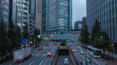 Time-lapse footage of traffic in the evening in Tokyo, Japan Stock Footage