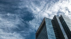 Time-lapse footage of business building and clouds in the sky, Tokyo, Japan Stock Footage