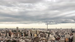Time-lapse footage of dramatic sky over Tokyo cityscape before sunset, Tokyo, Stock Footage