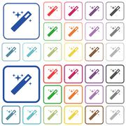 Magic wand color outlined flat icons Piirros
