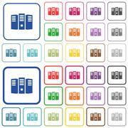 Server hosting color outlined flat icons Stock Illustration