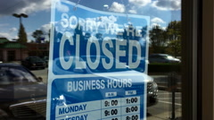 Motion of closed signboard on glass door Stock Footage