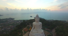 Aerial view the beautify Big Buddha in the morning Stock Footage
