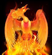 Phoenix Bird Rising From Ashes Stock Illustration