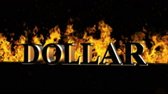 Dollar Burning Hot Word in Fire Stock Footage