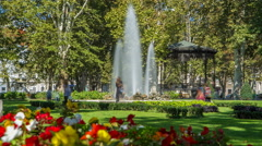 Fountains in Zrinjevac timelapse, one of the oldest parks in city. ZAGREB Stock Footage