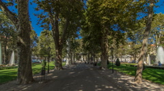 People around pavillion in Zrinjevac park timelapse hyperlapse in Zagreb Stock Footage