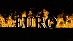 Euro Burning Hot Word in Fire Stock Footage