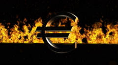 Euro Sign Burning Hot Word in Fire Stock Footage