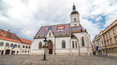 Church of St. Mark timelapse hyperlapse and parliament building Zagreb, Croatia Arkistovideo