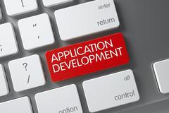 Application Development CloseUp of Keyboard. 3D Stock Illustration