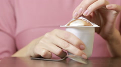 Chocolate mousse eat with a spoon. close-up Stock Footage
