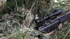 Close Sniper adjust scope Stock Footage