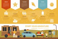 Start Your Adventure infographic flat vector illustration. Presentation Concept Stock Illustration