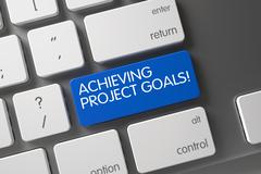 Achieving Project Goals - CloseUp of Keyboard. 3D Stock Illustration