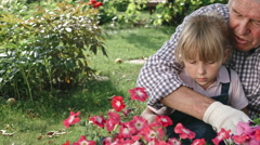 Grandfather Gardening with Grandchild Stock Footage