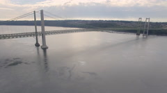 Tacoma Narrows Bridge Over Puget Sound in Washington State Stock Footage