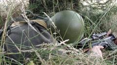 Close sniper adjust gunsight and reloads rifle Stock Footage